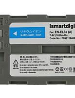 Ismartdigi EL3E 7.4V 1650mAh Camera Battery for Nikon EN-EL3E D300S D80 D300 D90 D700 D200 D50