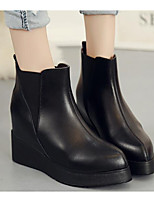 Women's Boots Comfort Fashion Boots Combat Boots Winter Real Leather PU Casual Black Flat