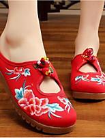 Для женщин Тапочки и Шлепанцы Удобная обувь Лето Ткань Повседневные Черный Красный Синий На плоской подошве