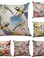 Set of 6 Colorful Flowers and Birds Linen Cushion Cover Home Office Sofa Square Pillow Case Decorative Cushion Covers Pillowcases (18*18Inch)