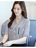 Women's Casual/Daily Simple Summer Shirt,Striped V Neck Short Sleeve Others