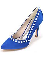 Feminino Sapatos De Casamento Plataforma Básica Primavera Verão Cetim Casamento Festas & Noite Pérolas Sintéticas Salto Agulha7,5 a 9,5