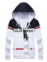 Men's Plus Size Fashion Letter Print Hooded Sweatshirt Cotton Spandex