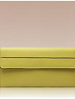 Women Checkbook Wallet Cowhide All Seasons Round Zipper Yellow