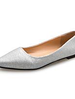 Damen High Heels Komfort PU Frühling Sommer Kleid Party & Festivität Flacher Absatz Gold Schwarz Silber 2,5 - 4,5 cm