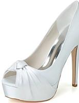 Femme Chaussures de mariage Chaussures formelles Printemps Eté Satin Mariage Soirée & Evénement Talon Aiguille Blanc Bleu 12 cm & plus