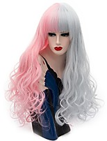 Women Synthetic Wig Capless Long Curly Pink / Purple Natural Wig Party Wig Halloween Wig Carnival Wig Costume Wigs