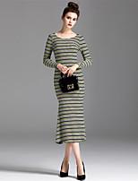 Для женщин На каждый день Простое Оболочка Платье Полоски,Круглый вырез Средней длины Длинный рукав Полиэстер Осень Со стандартной талией