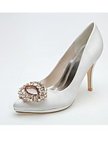 Feminino Sapatos De Casamento Sapatos formais Primavera Verão Cetim Casamento Festas & Noite Pedrarias Salto Agulha Branco Rosa claro 10