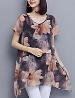 Для женщин На выход На каждый день Лето Осень Блуза Круглый вырез,Простое Очаровательный Цветочный принт С короткими рукавами,Полиэстер,