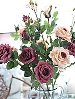 1 Branch Plastic Roses Tabletop Flower Artificial Flowers Home Decoration Wedding Supplies Single Rose