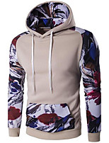 Men's Casual/Daily Simple Hoodie Solid Print Color Block Hooded Micro-elastic Polyester Long Sleeve Spring Fall