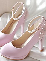 Women's Shoes Nubuck leather PU Fall Comfort Heels For Casual White Black Blushing Pink