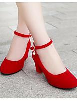 Для женщин Обувь Полиуретан Весна Лето Удобная обувь Обувь на каблуках Назначение Повседневные Черный Красный
