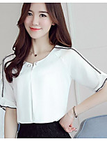Women's Casual/Daily Simple Blouse,Solid Round Neck Short Sleeve Polyester