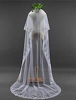 Lady's Elegant Wedding Veil Two-tier Chapel Veils Lace Applique Edge Lace Tulle