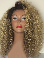 New!! Ombre T1B/613 Kinky Curly Style Glueless Lace Front Wigs With Baby Hair 100% Brazilian Virgin Hair Wigs for Black Woman