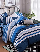 Solid 4 Piece Cotton Cotton 1pc Duvet Cover 2pcs Shams 1pc Flat Sheet