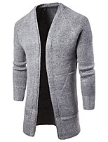 Men's Casual/Daily Simple Long Cardigan,Solid V Neck Long Sleeves Cotton Spring Winter Medium Micro-elastic