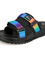 Men's Slippers & Flip-Flops Slippers Summer PU Casual Outdoor Flat Heel Rainbow Black/White Screen Color Flat