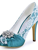 Women's Heels Basic Pump Stretch Satin Spring Fall Wedding Dress Crystal Stiletto Heel Navy 4in-4 3/4in
