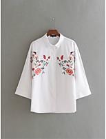 Для женщин На выход На каждый день Лето Футболка Рубашечный воротник,Простое Уличный стиль Цветочный принт Длинный рукав,Шёлк Хлопок,