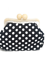 Women Bags Spring Summer PVC Evening Bag with Chain Polka Dot for Wedding Event/Party Black-white