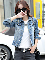 Women's Going out Casual/Daily Street chic Fall Denim Jacket,Solid Shirt Collar Long Sleeve Short Cotton