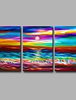 Peint à la main Paysage Artistique Abstrait Moderne/Contemporain Bureau / Affaires Noël Nouvel An Trois Panneaux ToilePeinture à l'huile