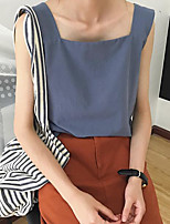 Women's Casual/Daily Simple Tank Top,Solid Boat Neck Sleeveless Cotton