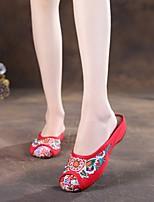 Women's Slippers & Flip-Flops Comfort Summer Fabric Casual Flat Heel White Black Red Flat