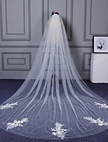 Wedding Veil One-tier Cathedral Veils Cut Edge Lace Applique Edge Beaded Edge Lace Tulle
