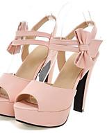 Mujer Zapatos PU Verano Confort Tacones Para Casual Negro Beige Morado Rosa