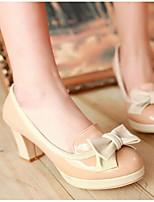 Damen Schuhe PU Frühling Komfort High Heels Für Normal Weiß Schwarz Mandelfarben