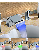 Color Changing LED Widespread Waterfall Multi-shade Single Handle Three Holes for  Chrome , Bathroom Sink Faucet