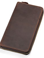 Men Checkbook Wallet Cowhide All Seasons Office/Career Event/Party Shopping Daily Casual Formal Office & Career Rectangle Zipper Zipper