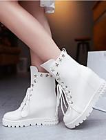 Feminino Sapatos Couro Ecológico Primavera Outono Coturnos Botas Para Casual Branco Preto