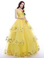 Disfraces de Cosplay Ropa de Fiesta Baile de Máscaras Princesas Reina Cosplay de películas  Amarillo Top Falda Enagua Collar Pelucas