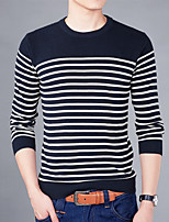 Для мужчин На каждый день Большие размеры Простое Обычный Пуловер Полоски,Круглый вырез Длинный рукав Хлопок Осень Зима Средняя