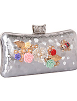 Women Bags All Seasons leatherette Evening Bag with Rhinestone Pearl Detailing Flower for Wedding Event/Party Formal Gold Black Silver Red