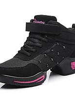 Для женщин Танцевальные кроссовки Сетка Кожа С раздельной подошвой Тренировочные Заклепки Кубинский каблук Черный Красный