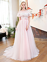 A-Line Jewel Neck Court Train Satin Tulle Rehearsal Dinner Formal Evening Dress with Beading Flower(s) Pearl Detailing Sequins by QZ