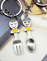 Material Keychain Favors-6 Pairs/Set Spork   key Ring  Favors Silver