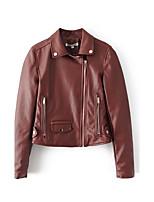 Для женщин Спорт На выход Весна Осень Кожаные куртки Рубашечный воротник,Простой Однотонный Обычная Длинный рукав,Хлопок