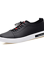 Men's Sneakers Light Soles Spring Fall Synthetic Microfiber PU Casual Outdoor Lace-up Flat Heel White Black Flat