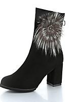 Для женщин Ботинки Модная обувь Армейские ботинки Дерматин Зима Повседневные Для праздника Пом пом На толстом каблуке Черный Серый4,5 - 7