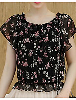 Women's Casual/Daily Simple Summer Blouse,Floral Print Boat Neck Short Sleeve Others