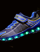 Girls' Athletic Shoes Comfort Spring Fall PU Walking Shoes Casual Hook & Loop LED Flat Heel Gray Green Royal Blue Under 1in