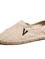 Men's Loafers & Slip-Ons Espadrilles Linen Spring Fall Winter Casual Office & Career Party & Evening Beige Black Flat