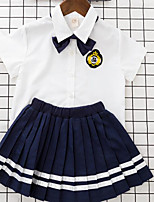 Girls' Solid Sets,Cotton Polyester Summer Short Sleeve Clothing Set